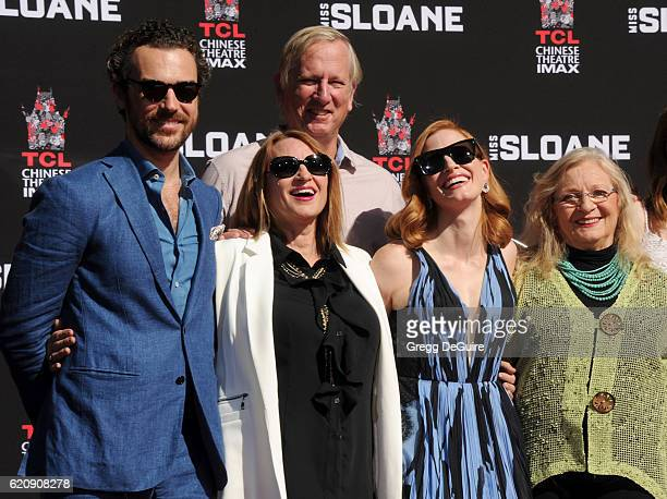 Gian Luca Passi de Preposulo Jerri Chastain Michael Hastey actress Jessica Chastain and Marilyn Herst pose at the Hand And Footprint Ceremony at TCL...