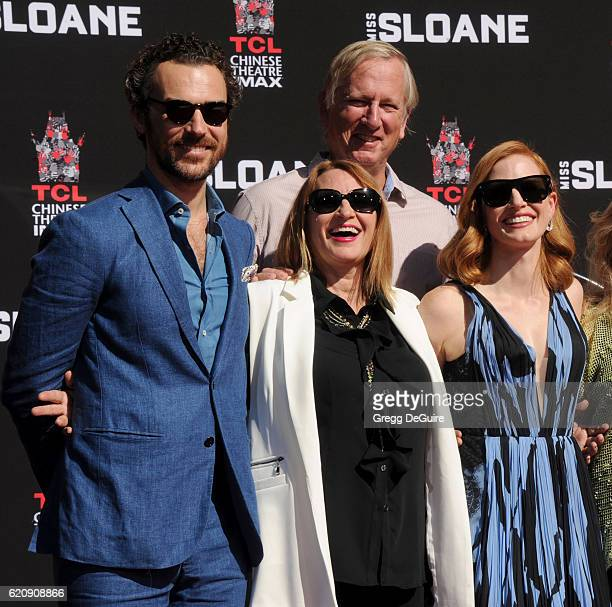 Gian Luca Passi de Preposulo Jerri Chastain Michael Hastey and actress Jessica Chastain pose at the Hand And Footprint Ceremony at TCL Chinese...