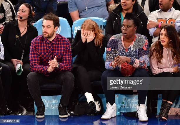 Gian Luca Passi de Preposulo Jessica Chastain and Leslie Jones attend Los Angeles Lakers Vs New York Knicks game at Madison Square Garden on February...