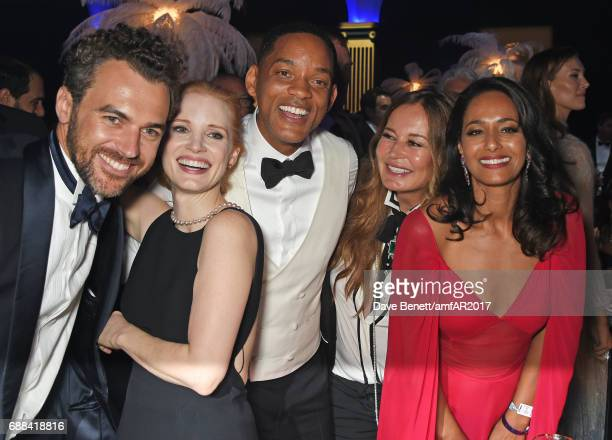 Gian Luca Passi de Preposulo Jessica Chastain Will Smith Eva Cavalli and Rula Jebreal attend the amfAR Gala Cannes 2017 at Hotel du CapEdenRoc on May...