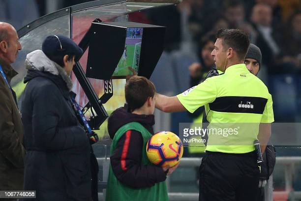 Gian Luca Rocchi the referee review the VAR and assign a penalty kick to AS Roma during the Italian Serie A 2018/2019 match between AS Roma and FC...