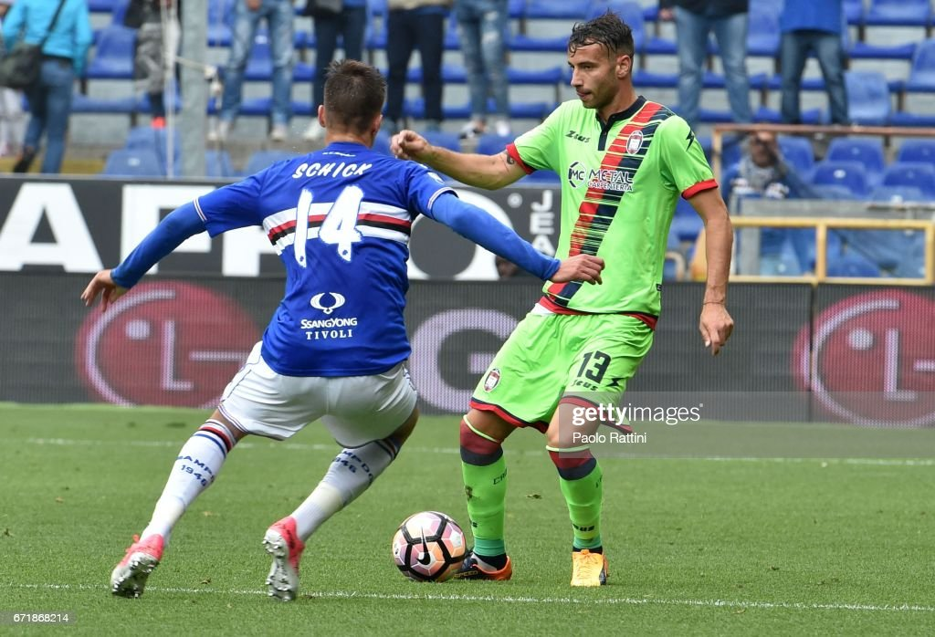 Gian Marco Ferrari (Crotone) in action during the Serie A match between UC Sampdoria and FC Crotone at Stadio Luigi Ferraris on April 23, 2017 in Genoa, Italy.