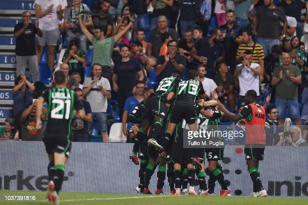 Gian Marco Ferrari of Sassuolo celebrates after scoring his team's second goal during the serie A match between US Sassuolo and Empoli at Mapei...