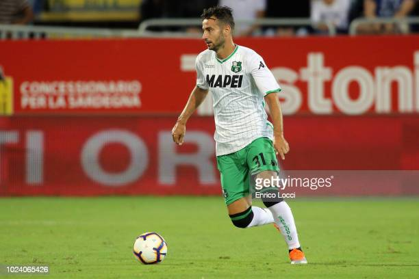 Gian Marco Ferrari of Sassuolo in action during the serie A match between Cagliari and US Sassuolo at Sardegna Arena on August 26 2018 in Cagliari...