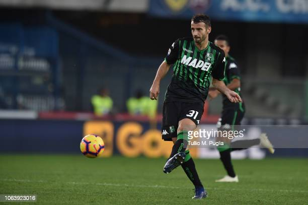 Gian Marco Ferrari of Sassuolo in action during the Serie A match between Chievo Verona and US Sassuolo at Stadio Marc'Antonio Bentegodi on November...