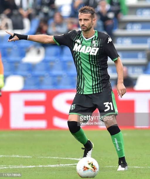 Gian Marco Ferrari of US Sassuolo in action during the Serie A match between US Sassuolo and SPAL at Mapei Stadium Città del Tricolore on September...