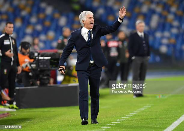Gian Piero Gasperini coach of Atalanta BC gestures during the Serie A match between SSC Napoli and Atalanta BC at Stadio San Paolo on October 30 2019...