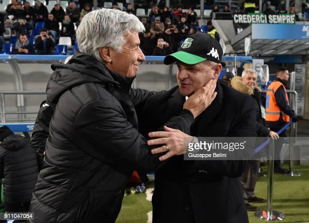 Gian Piero Gasperini head coach of Atalanta BC and Giuseppe Iachini head coach of US Sassuolo prior the serie A match between US Sassuolo and...