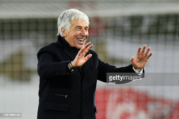 Gian Piero Gasperini, Head Coach of Atalanta B.C. Celebrates following his sides victory in the UEFA Champions League Group D stage match between...