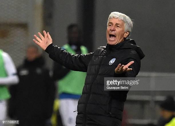 Gian Piero Gasperini head coach of Atalanta BC during the serie A match between US Sassuolo and Atalanta BC at Mapei Stadium Citta' del Tricolore on...
