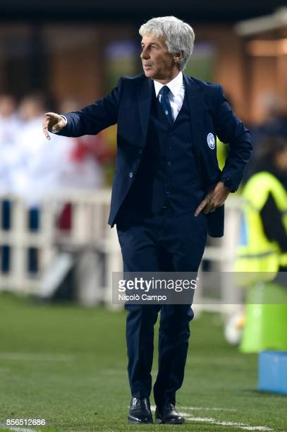 Gian Piero Gasperini head coach of Atalanta BC gestures during the Serie A football match between Atalanta BC and Juventus FC The match end in a tie...