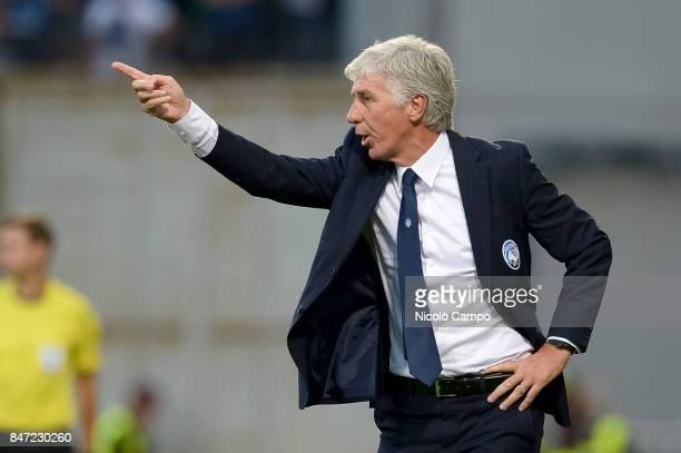 Gian Piero Gasperini head coach of Atalanta BC gestures during the UEFA Europa League group E football match between Atalanta BC and Everton FC...