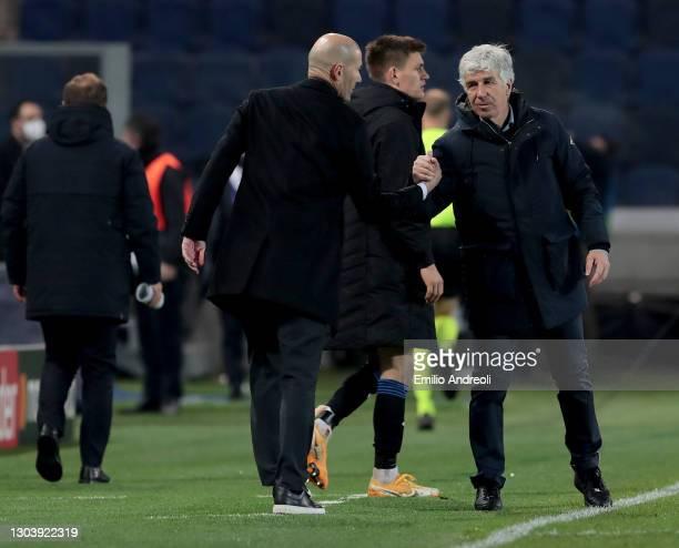 Gian Piero Gasperini, Head Coach of Atalanta B.C. Interacts with Zinedine Zidane, Head Coach of Real Madrid after the UEFA Champions League Round of...