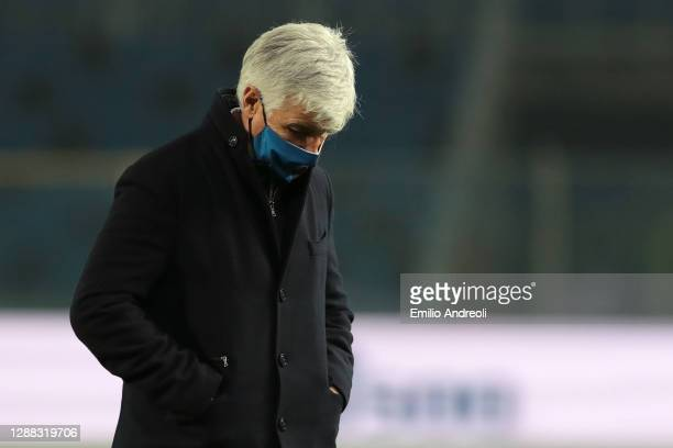 Gian Piero Gasperini, Head Coach of Atalanta B.C. Looks dejected following their sides defeat in the Serie A match between Atalanta BC and Hellas...