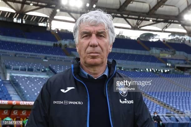Gian Piero Gasperini, Head Coach of Atalanta B.C. Looks on ahead of the Serie A match between AS Roma and Atalanta BC at Stadio Olimpico on April 22,...