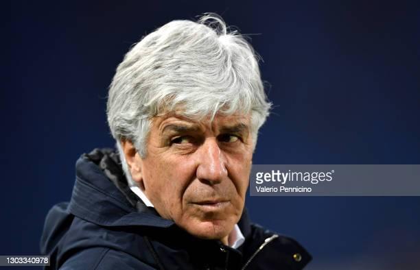 Gian Piero Gasperini, Head Coach of Atalanta B.C. Looks on prior to the Serie A match between Atalanta BC and SSC Napoli at Gewiss Stadium on...