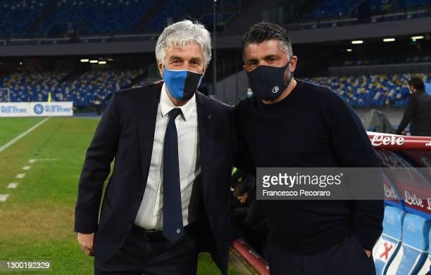 Gian Piero Gasperini, Head Coach of Atalanta B.C. Poses foe a photo with Gennaro Gattuso, Head Coach of Napoli ahead of the Coppa Italia match...