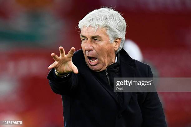 Gian Piero Gasperini, Head Coach of Atalanta B.C. Reacts during the UEFA Champions League Group D stage match between Liverpool FC and Atalanta BC at...