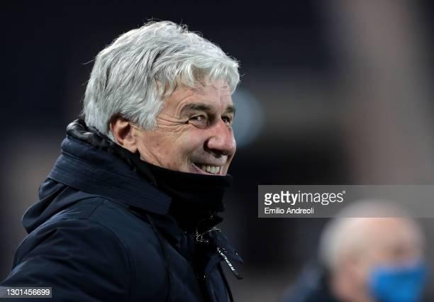 Gian Piero Gasperini, Head Coach of Atalanta B.C. Reacts prior to the Coppa Italia match between Atalanta BC and SSC Napoli at Gewiss Stadium on...