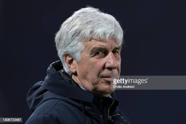 Gian Piero Gasperini, Head Coach of Atalanta during the Serie A match between Atalanta BC and Spezia Calcio at Gewiss Stadium on March 12, 2021 in...