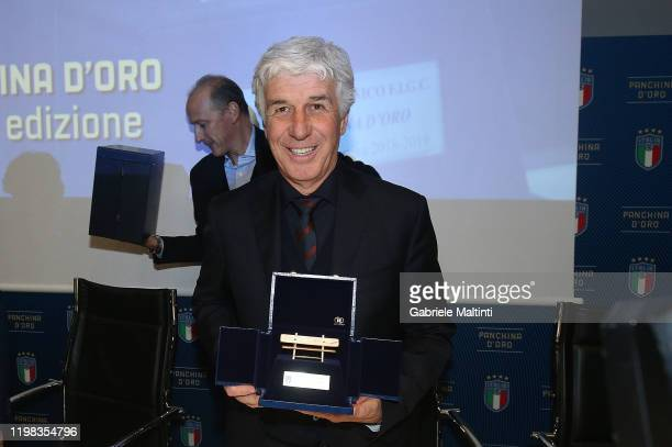 Gian Piero Gasperini manager of Atalanta BC receives the award for best manager of the 2018/2019 season at Centro Tecnico Federale di Coverciano on...