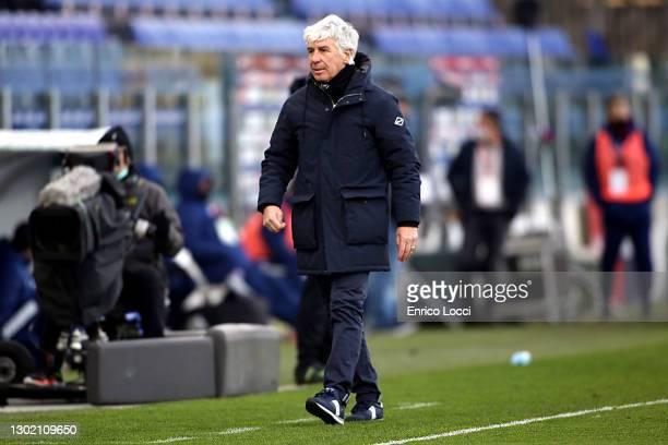 Gian Piero Gasperini of Atalanta reacts during the Serie A match between Cagliari Calcio and Atalanta BC at Sardegna Arena on February 14, 2021 in...