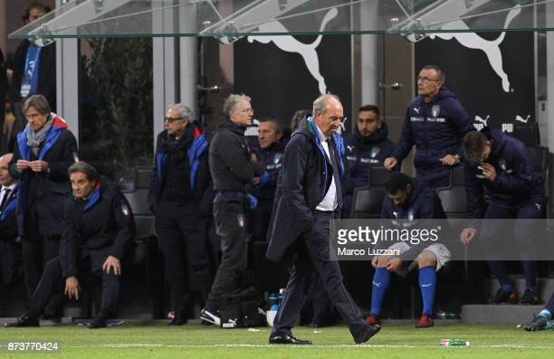 Gian Piero Ventura coach of Italy reacts after loosing at the end of the FIFA 2018 World Cup Qualifier PlayOff Second Leg between Italy and Sweden at...