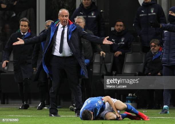 Gian Piero Ventura coach of Italy reacts during the FIFA 2018 World Cup Qualifier PlayOff Second Leg between Italy and Sweden at San Siro Stadium on...