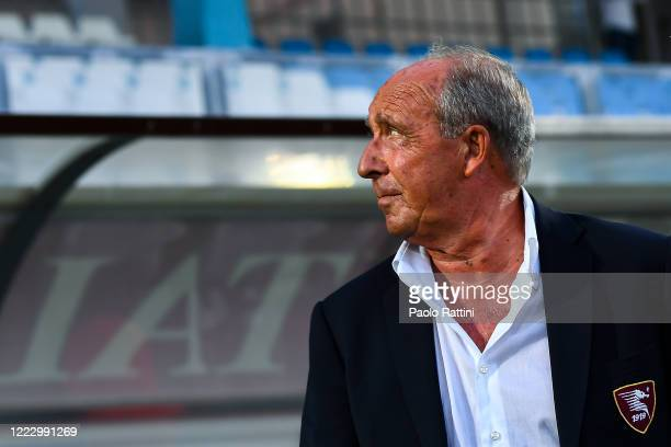 Gian Piero Ventura coach of Salernitana before the serie B match between Virtus Entella and US Salernitana at Aldo Gastaldi Stadium on June 26, 2020...