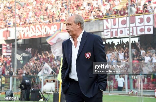 Gian Piero Ventura coach of US Salernitana before the Serie B match between Salernitana and Pescara Calcio at Stadio Arechi on August 24, 2019 in...