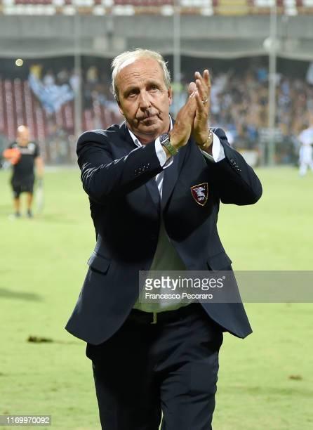 Gian Piero Ventura coach of US Salernitana celebrates the victory after the Serie B match between Salernitana and Pescara Calcio at Stadio Arechi on...