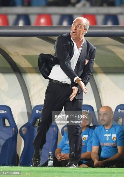 Gian Piero Ventura coach of US Salernitana gestures during the Serie B match between Cosenza and Salernitana at Stadio San Vito Maru on August 31,...
