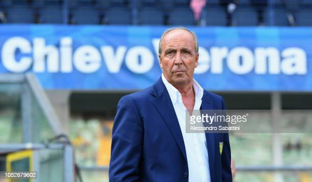 Gian Piero Ventura head coach of Chievo Verona looks on before the Serie A match between Chievo Verona and Atalanta BC at Stadio Marc'Antonio...