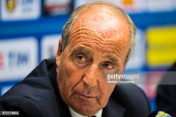 Gian Piero Ventura head coach of Italy gives a press conference at Friends Arena on November 9 2017 in Stockholm Sweden