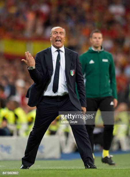 Gian Piero Ventura manager of Italy reacts during the FIFA 2018 World Cup Qualifier between Spain and Italy at Estadio Santiago Bernabeu on September...