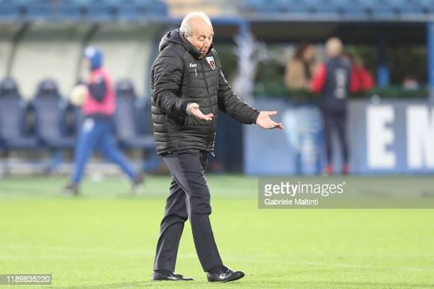 Gian Piero Ventura manager of US Salernitana reacts during the Serie B match between Empoli FC and US Salernitana at Stadio Carlo Castellani on...