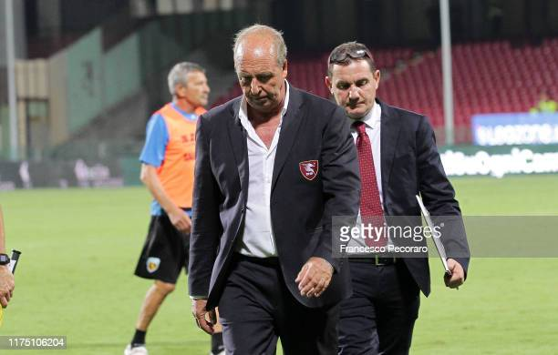 Gian Piero Ventura of US Salernitana stands disappointed during the Serie B match between Salernitana and Benevento Calcio at Stadio Arechi on...