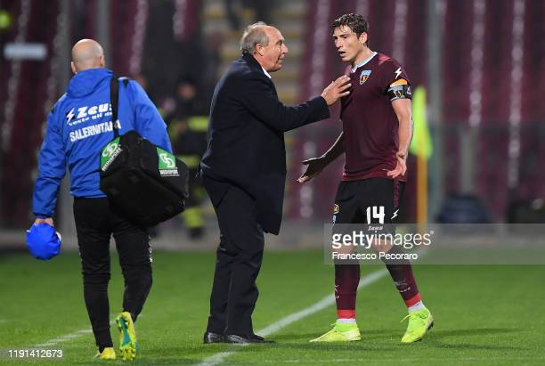 Gian Piero Ventura US Salernitana coach and Francesco Di Tacchio of US Salernitana during the Serie B match between US Salernitana and Ascoli Calcio...