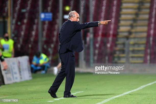 Gian Piero Ventura US Salernitana coach gestures during the serie B match between US Salernitana and AS Cittadella at Stadio Arechi on July 13, 2020...