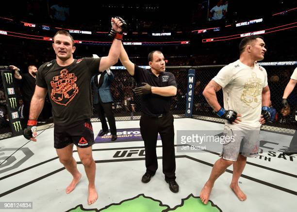 Gian Villante celebrates after his victory over Francimar Barroso of Brazil in their light heavyweight bout during the UFC 220 event at TD Garden on...