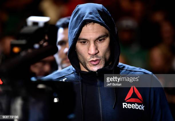 Gian Villante prepares to fight Francimar Barroso in a light heavyweight bout during the UFC 220 event at TD Garden on January 20 2018 in Boston...