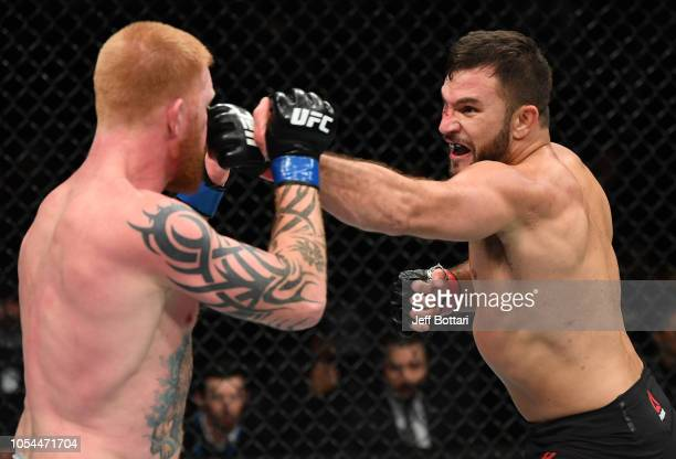 Gian Villante punches Ed Herman in their light heavyweight bout during the UFC Fight Night event inside Avenir Centre on October 27 2018 in Moncton...