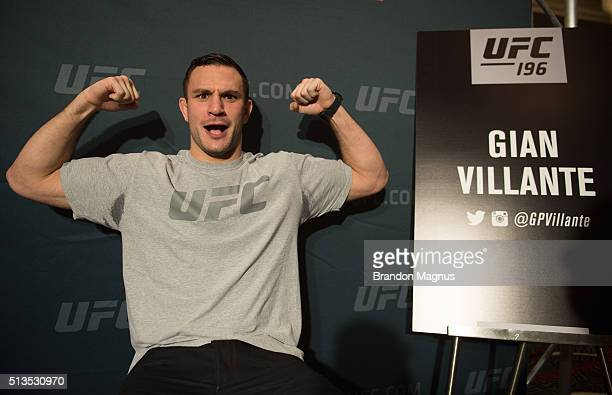 Gian Villante speaks to the media during the UFC 196 Ultimate Media Day in the MGM Grand Hotel/Casino on March 3, 2016 in Las Vegas, Nevada.