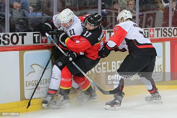 Gian-Andrea of Bern challenges HATAKINEN Valtteri of Jyvaskyla during the Champions Hockey League Round of 16 match between SC Bern and JYP Jyvaskyla...