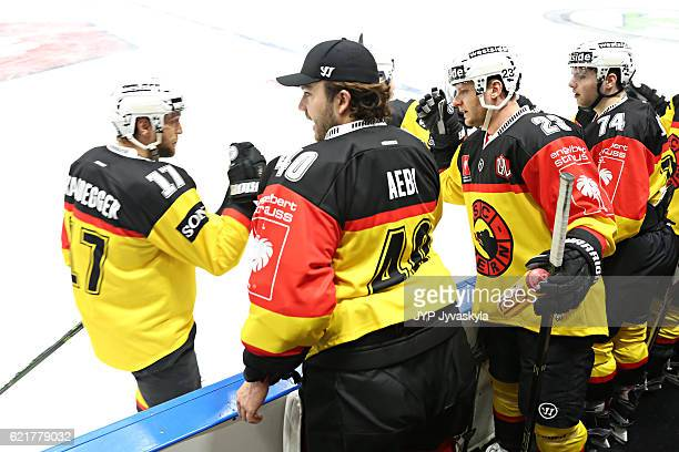 Gian-Andrea Randegger of Bern celebrates the 1-0 goal during the first period of Champions Hockey League Round of 16 match between JYP Jyvaskyla and...