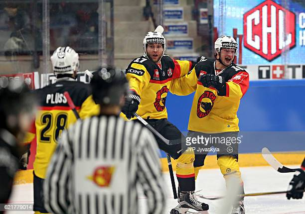 Gian-Andrea Randegger of Bern celebrates the goal in the first period during the Champions Hockey League Round of 16 match between JYP Jyvaskyla and...