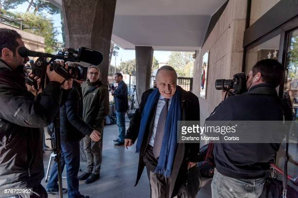 Giancarlo Abete former President of Figc and today Federal Councillor Lega Pro arrives at the headquarters of the Italian Football Federation for the...