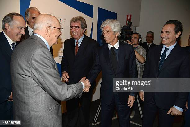 Giancarlo Abete Italian President Giorgio Napolitano Dino Zoff Gianni Rivera and Cesare Prandelli during the opening of the Italian Football...