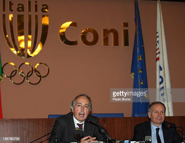Giancarlo Abete President of FIGC and Gianni Petrucci President of CONI attend a Tavolo Della Pace Meeting on December 14 2011 in Rome Italy