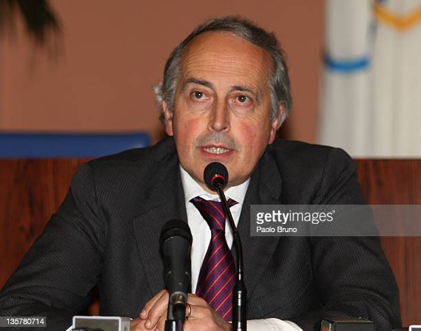 Giancarlo Abete President of FIGC attends a Tavolo Della Pace Meeting on December 14 2011 in Rome Italy